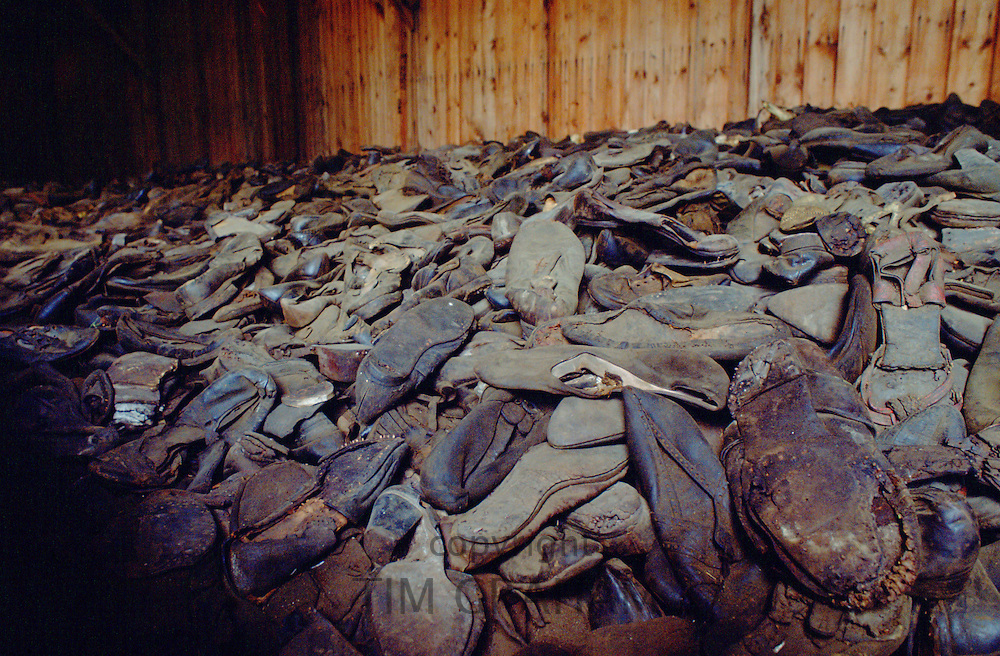 A room full of discarded shoes from victims of the Majdanek Concentration Camp in Poland.