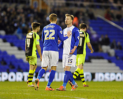 Birmingham City's Wade Elliott argues with his team mate - Photo mandatory by-line: Dougie Allward/JMP - Tel: Mobile: 07966 386802 18/01/2014 - SPORT - FOOTBALL - St Andrew's Stadium - Birmingham - Birmingham City v Yeovil Town - Sky Bet Championship