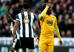 Daniel Johnson of Preston North End looks dejected after missing a chance to score - Mandatory by-line: Robbie Stephenson/JMP - 24/04/2017 - FOOTBALL - St James Park - Newcastle upon Tyne, England - Newcastle United v Preston North End - Sky Bet Championship