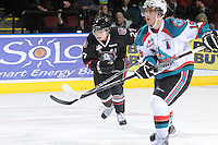 KELOWNA, CANADA - FEBRUARY 18: Marc MacKenzie #27 of the Red Deer Rebels skates on the ice as the Red Deer Rebels visit the Kelowna Rockets on February 18, 2012 at Prospera Place in Kelowna, British Columbia, Canada (Photo by Marissa Baecker/Shoot the Breeze) *** Local Caption ***