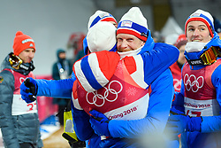 February 11, 2018 - Pyeongchang, SOUTH KOREA - 180211 Robert Johansson of Norway celebrates after winning bronze in the men's normal hill Individual ski jumping final during day one of the 2018 Winter Olympics on February 11, 2018 in Pyeongchang..Photo: Carl Sandin / BILDBYRN / kod CS / 57999_281 (Credit Image: © Carl Sandin/Bildbyran via ZUMA Press)
