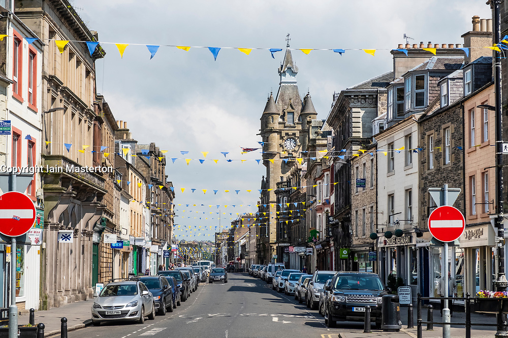 View of the High Street in Hawick, Scottish Borders, Scotland,UK
