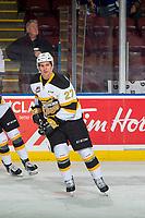 KELOWNA, BC - NOVEMBER 03: Luka Burzan #27 of the Brandon Wheat Kings warms up against the Kelowna Rockets  at Prospera Place on November 3, 2018 in Kelowna, Canada. (Photo by Marissa Baecker/Getty Images) ***Local Caption***Luka Burzan;