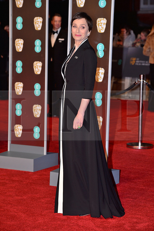 © Licensed to London News Pictures. 18/02/2018. London, UK. DAME KRISTIN SCOTT THOMAS arrives on the red carpet for the EE British Academy Film Awards 2018, held at the Royal Albert Hall. London, UK. Photo credit: Ray Tang/LNP