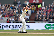 Mitchell Starc of Australia unsuccessfully appeals for an lbw against Rory Burns of England during the International Test Match 2019, fourth test, day three match between England and Australia at Old Trafford, Manchester, England on 6 September 2019.