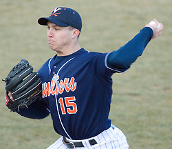 Virginia Cavaliers pitcher/firstbaseman Matt Packer (15) delivers a pitch against GWU.  The Virginia Cavaliers Baseball Team defeated the George Washington University Colonials 15-2 to complete a sweep of the three game series on February 19, 2007 at Davenport Field, Charlottesville, VA.
