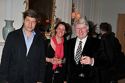 Left to right, LEO JOHNSON, MARIA PAGET and STANLEY JOHNSON at the launch of Whole World Water at The Savoy Hotel, London on 22nd March 2013.