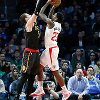 08 January 2018: LA Clippers guard Lou Williams (23) goes for the jump shot over Atlanta Hawks forward Tyler Cavanaugh (34) during the LA Clippers 108-107 victory over the Atlanta Hawks, at the Staples Center, Los Angeles, California, USA.