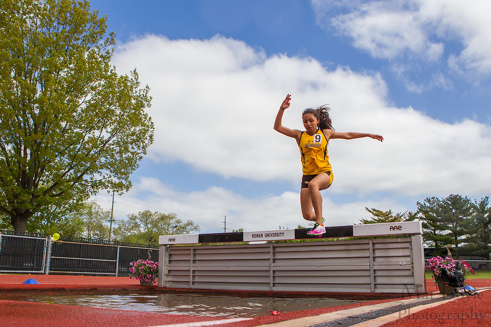 Rowan University's Priscilla Antuna competes in the women's 3000 meter steeplechase at the NJAC Track and Field Championships at Richard Wacker Stadium on the campus of  Rowan University  in Glassboro, NJ on Sunday May 5, 2013. (photo / Mat Boyle)