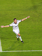 Cristiano Ronaldo celebrates after scoring the opening goal for Real Madrid. Barcelona v Real Madrid, Supercopa first leg, Camp Nou, Barcelona, 23rd August 2012...Credit - Eoin Mundow/Cleva Media.