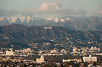 Scenic View of Hollywood Sign and Santa Monica Mountains from Kenneth Hahn State Recreation Area, Los Angeles, California