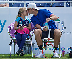 LIVERPOOL, ENGLAND - Thursday, June 20, 2019: Robert Kendrick (USA) and his daughter during the Liverpool International Tennis Tournament 2019 at the Liverpool Cricket Club. (Pic by David Rawcliffe/Propaganda)