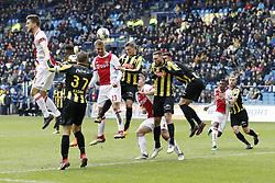 (L-R) Joel Veltman of Ajax, Thulani Serero of Vitesse, Guram Kashia of Vitesse, Siem de Jong of Ajax, Bryan Linssen of Vitesse, Matthijs de Ligt of Ajax, Tim Matavz of Vitesse, Matt Miazga of Vitesse, Mateo Cassierra of Ajax, Maikel van der Werff of Vitesse  during the Dutch Eredivisie match between Vitesse Arnhem and Ajax Amsterdam at Gelredome on March 04, 2018 in Arnhem, The Netherlands
