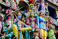 Hindu deities (sculptures) on the Gopuram, Sri Mariamman Temple (built in the South Indian Dravidian style), Singapore