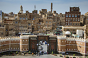 Bab al Yemen and the old town of the Unesco world heritage sight Sanaa, Yemen