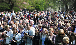 © Licensed to London News Pictures. 21/04/2014<br /> <br /> York, United Kingdom<br /> <br /> Crowds gather to watch Artillery guns from 4th Regiment Royal Artillery fire a salute in the Museum Gardens in York to mark the Queen's 88th birthday. <br /> <br /> Three 105mm light guns from the Topcliffe based regiment fired 21 rounds to mark the occasion.<br /> <br /> Photo credit : Ian Forsyth/LNP