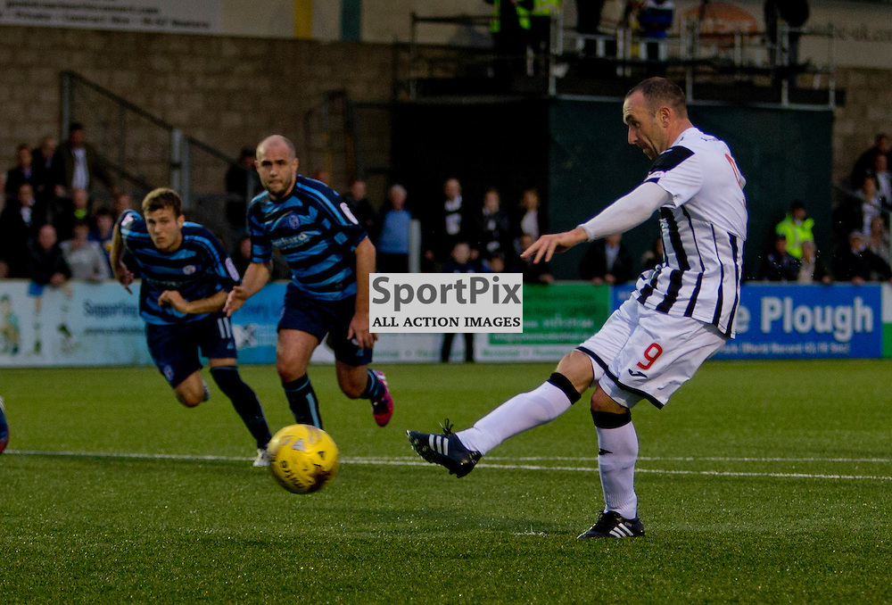 Forfar v Dunfermline Athletic Petrofac cup second round Station Park 18 August 2015<br /> Michael Moffat opens the scoring from the penalty spot<br /> CRAIG BROWN | sportPix.org.uk