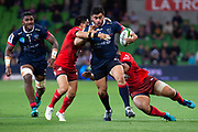 MELBOURNE, AUSTRALIA - APRIL 06: Jermaine Ainsley of the Rebels is tackled at round 8 of The Super Rugby match between Melbourne Rebels and Sunwolves on April 06, 2019 at AAMI Park in VIC, Australia. (Photo by Speed Media/Icon Sportswire)