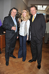 Left to right, STEPHEN BARLOW husband of Joanna Lumley and RICHARD & BASIA BRIGGS at a reception to unveil the Limited Centenary Edition of Sir George Frampton's statuette of Peter Pan in aid of the Moat Brae Charity held at The Fine Art Society, 148 New Bond Street, London on 1st May 2012.