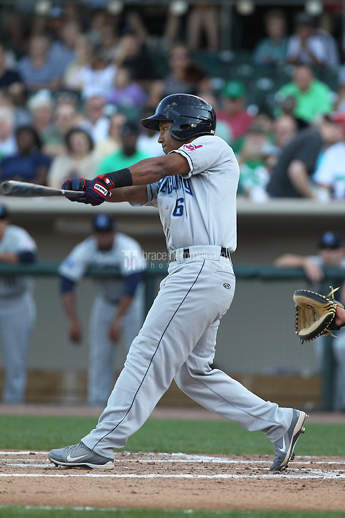 Lake County Captains outfielder Luigi Rodriguez #6 bats during a game against the Dayton Dragons at Fifth Third Field on June 25, 2012 in Dayton, Ohio. Lake County defeated Dayton 8-3. (Brace Hemmelgarn)