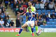 Chesterfield striker Conor Wilkinson (24) holds off Northampton defender Lewin Nyatanga (22) during the EFL Sky Bet League 1 match between Chesterfield and Northampton Town at the Proact stadium, Chesterfield, England on 17 September 2016. Photo by Aaron  Lupton.