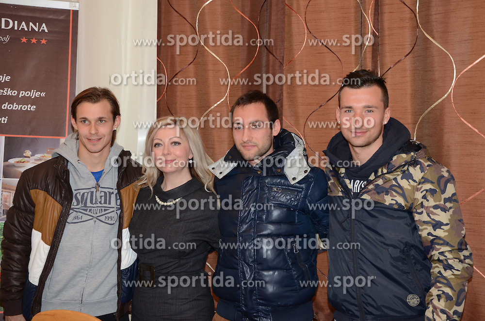 Rajko Rep, Ales Majer and Alen Ploj, players of ND Mura 05 with Natasa Horvat, president of management board of ND Mura 05 at press conference of Mura 05, on February 4 in Hotel Diana in Murska Sobota, Slovenia