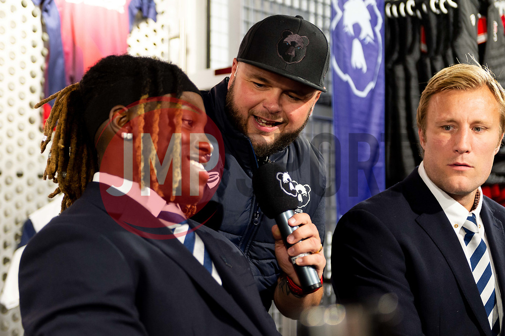 Ian Reed-Downs interviews Jordan Crane and Tyrese Johnson-Fisher in the Club Shop prior to kick off  - Mandatory by-line: Ryan Hiscott/JMP - 18/10/2019 - RUGBY - Ashton Gate - Bristol, England - Bristol Bears v Bath Rugby - Gallagher Premiership Rugby