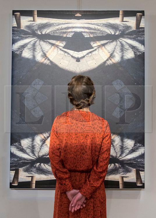 "© Licensed to London News Pictures. 20/11/2018. LONDON, UK. A staff member views ""Palm 338"", 2018, by Marwa Al Khalifa. Preview of ""Accumulation:  Legacy and Memory"", an exhibition presented by Art Bahrain Across Borders during Bahrain Art Week.  Works from 11 emerging and established Bahraini artists is on display 20th to 26 November at Alon Zakaim Fine Art gallery in Mayfair.  Photo credit: Stephen Chung/LNP"
