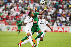 15042018 (Durban) Mabhuti Khenyeza of Amazulu tackle for a ball with Happy Jele of Orlando Pirates, when Pirates came from behind to grab a 2-1 win over AmaZulu to keep their title hopes alive in the Absa Premiership at King Zwelithini Stadium yesterday in Durban<br /> Picture: Motshwari Mofokeng/ANA