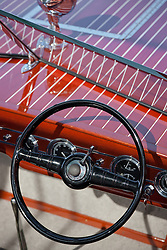 """Boat Steering Wheel 2"" - This classic wooden boat steering wheel was photographed at the 2011 Tahoe Concours d'Elegance."