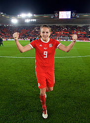 SOUTHAMPTON, ENGLAND - Friday, April 6, 2018: Wales' Kayleigh Green celebrates after a hard fought goal-less draw against England during the FIFA Women's World Cup 2019 Qualifying Round Group 1 match between England and Wales at St. Mary's Stadium. (Pic by David Rawcliffe/Propaganda)