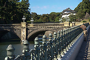 Japan, Tokyo View of Nijubashi bridge at Imperial Palace