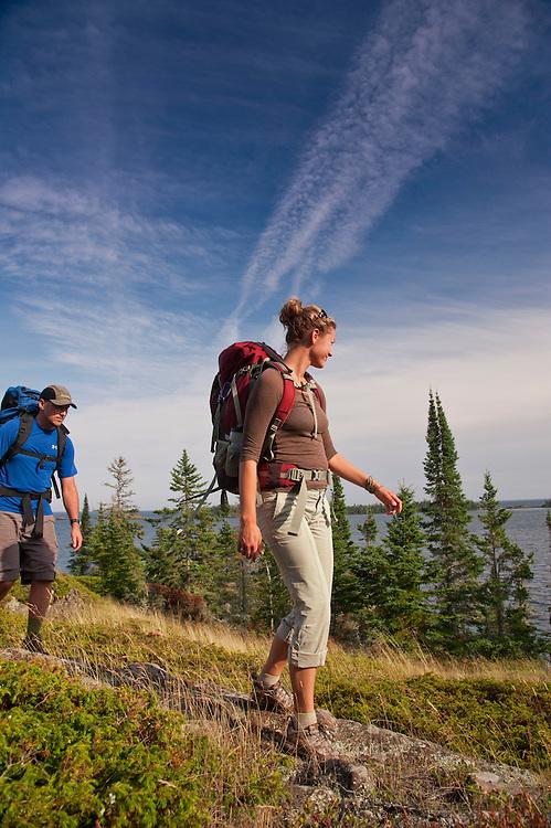 Backpacking on Isle Royale National Park near Rock Harbor.