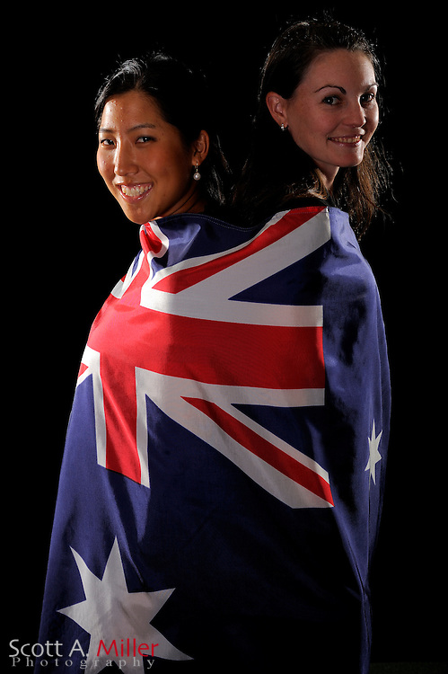 Stephanie Na, left, and Leanne Bowditch both of Australia during a portrait shoot prior to the LPGA Futures Tour's Daytona Beach Invitational at LPGA International's Championship Courser on March 29, 2011 in Daytona Beach, Florida... ©2011 Scott A. Miller