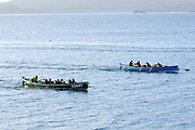 Isles of Scilly, 20 May 2009: Gigs named Bonnet and Men A Uaur contested first and second places of the Women's race on the Wednesday night Isles of Scilly Gig Association triangle race. Photo by Peter Horrell / http://peterhorrell.com