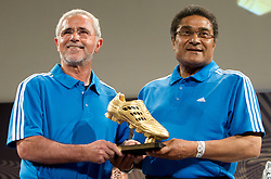 """Portugal's football legend Eusebio (R) and German legend Gerd Mueller at a press conference themed """"Adidas Golden Boot Day"""" during FIFA World Cup 2010 on July 1, 2010 at the adidas Jo'bulani Centre in Sandton Convention Centre in Johannesburg. (Photo by Vid Ponikvar / Sportida)"""