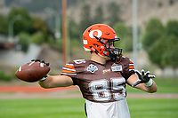 KELOWNA, BC - AUGUST 17:  Kyle ZAKALA #85 of Okanagan Sun throws the ball during warm up against the Westshore Rebels  at the Apple Bowl on August 17, 2019 in Kelowna, Canada. (Photo by Marissa Baecker/Shoot the Breeze)