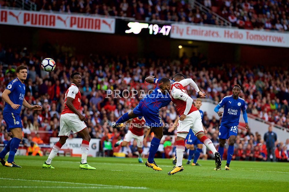 LONDON, ENGLAND - Friday, August 11, 2017: Arsenal's Alexandre Lacazette scores the first goal during the FA Premier League match between Arsenal and Leicester City at the Emirates Stadium. (Pic by David Rawcliffe/Propaganda)