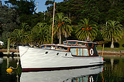 Classic launch on a mooring at Kauwau Island. 3/11/2006