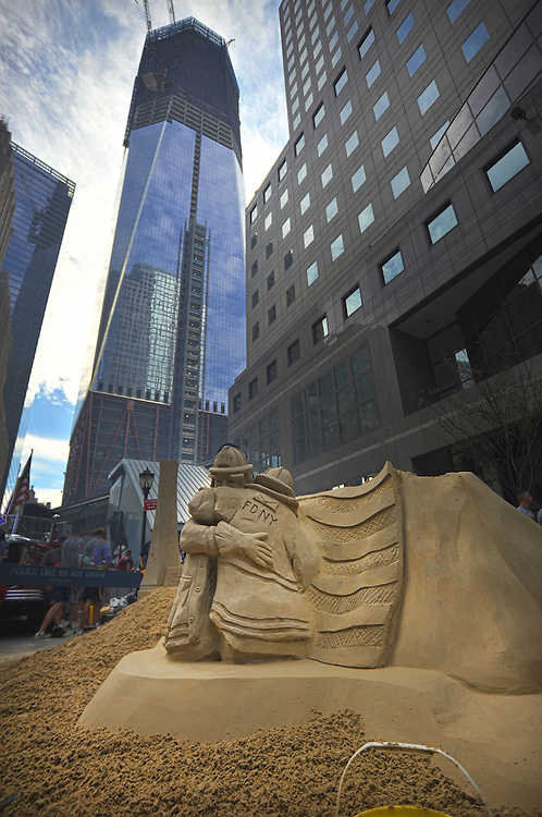 Sand statue at the Tunnel to Tower race, under Financial Center as part of 9/11/01, Memorial events. 9/25/11. New York City, USA.