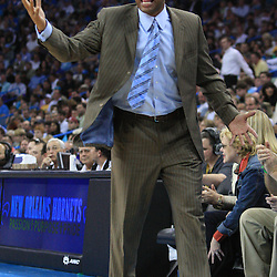 11 February 2009:  Boston Celtics coach Doc Rivers argues a officials call during a 89-77 loss by the New Orleans Hornets to the Boston Celtics at the New Orleans Arena in New Orleans, LA.