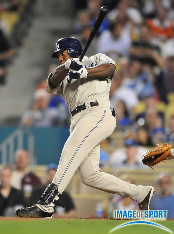 Sep 2, 2008; Los Angeles, CA, USA; San Diego Padres center fielder Chip Ambres (14) bats during 8-4 loss to the Los Angeles Dodgers at Dodger Stadium.