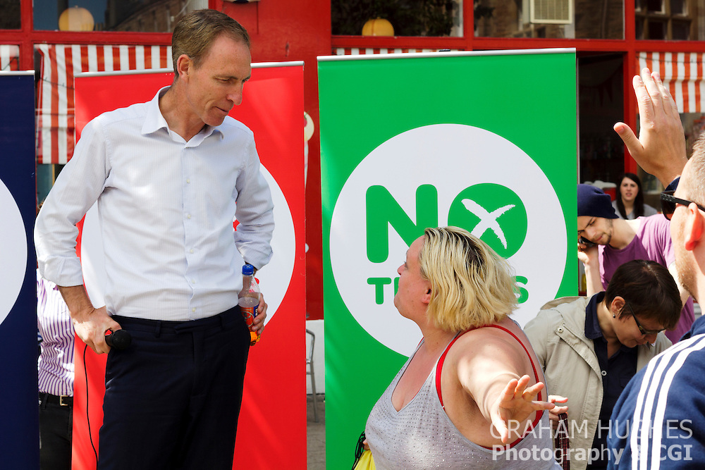 "MP Jim Murphy Talking To Crowd At ""No Thanks"" 100 Streets Tour Of Scotland in Portobello High Street, Edinburgh"