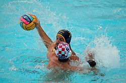 July 24, 2018 - Barcelona, Spain - Maro Jokovic (Croacia) and Mladan Janovic (Montenegro) during the match between Croacia and Montenegro, corresponding to the women group stage of the European Water Polo Championship, on 19th July, 2018, in Barcelona, Spain. (Credit Image: © Joan Valls/NurPhoto via ZUMA Press)