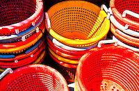 Long Island, New York, Shinnecock Harbor. Colorful empty baskets for the next catch.