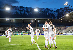 23.04.2019, Tivoli Stadion Tirol, Innsbruck, AUT, 1. FBL, FC Wacker Innsbruck vs Cashpoint SCR Altach, Qualifikationsgruppe, 27. Spieltag, im Bild SCR Altach feiert das 0:2 durch Christian Gebauer (SCR Altach) // during the tipico Bundesliga qualification group, 27. round match between FC Wacker Innsbruck and Cashpoint SCR Altach at the Tivoli Stadion Tirol in Innsbruck, Austria on 2019/04/23. EXPA Pictures © 2019, PhotoCredit: EXPA/ Johann Groder