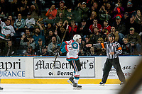 KELOWNA, CANADA - MARCH 11: Rodney Southam #17 of the Kelowna Rockets celebrates a second period goal against the Victoria Royals on March 11, 2017 at Prospera Place in Kelowna, British Columbia, Canada.  (Photo by Marissa Baecker/Shoot the Breeze)  *** Local Caption ***