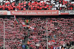 05.05.2012, Rhein Energie Stadion, Koeln, GER, 1. FC Koeln vs FC Bayern Muenchen, 34. Spieltag, im Bild Plakat - Goodby Lukas, mach et jot! - Abschied von Lukas PODOLSKI (1.FC Ko¨ln - 10) - Lukas PODOLSKI wird verabschiedet und verlaesst den Verein Richtung Arsenal London // during the German Bundesliga Match, 34th Round between 1. FC Cologne and Bayern Munich at the Rhein Energie Stadium, Cologne, Germany on 2012/05/05. EXPA Pictures © 2012, PhotoCredit: EXPA/ Eibner/ Gerry Schmit..***** ATTENTION - OUT OF GER *****