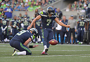 Aug 25, 2017; Seattle, WA, USA; Seattle Seahawks kicker Blair Walsh (7) kicks a 36-yard field goal out of the hold of punter Jon Ryan (9) in the second quarter against the Kansas City Chiefs during a NFL football game at CenturyLink Field. The Seahawks defeated the Chiefs 26-13.