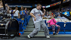 Peyton Henderson, 11 of Scott County dances for the crowd during halftime of the Bowling Green and Calloway County game of the 2015 KHSAA Boy's Sweet 16 Tournament, Friday, March 20, 2015 at Rupp Arena in Lexington. <br /> <br /> Photo by Jonathan Palmer
